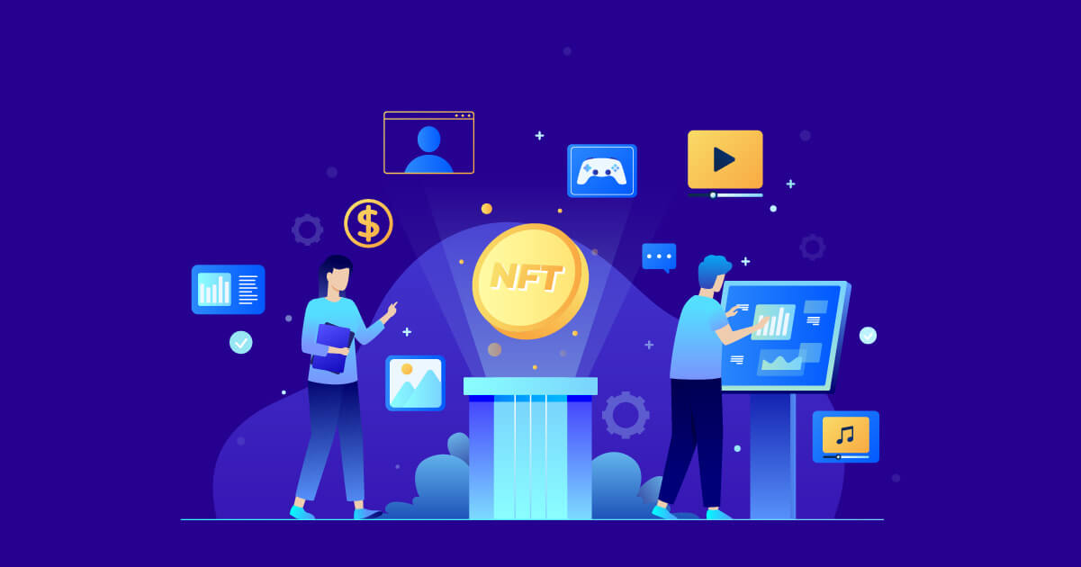 Non-Fungible Tokens or NFT in media Illustrated
