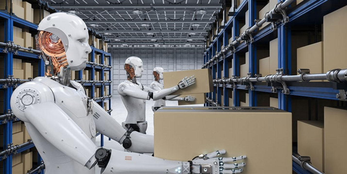 Robots assist within a distribution facility